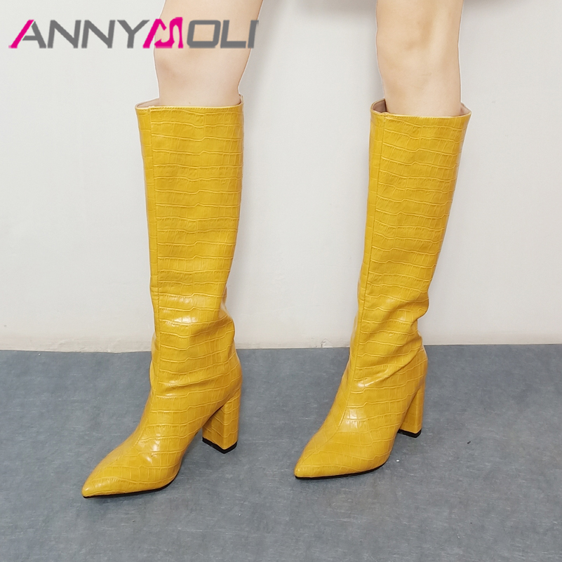 ANNYMOLI Pointed Toe Knee High Boots Extreme High Heel Woman Boots Thick Heel Shoes Lady Long Boots Autumn Winter White Size 46