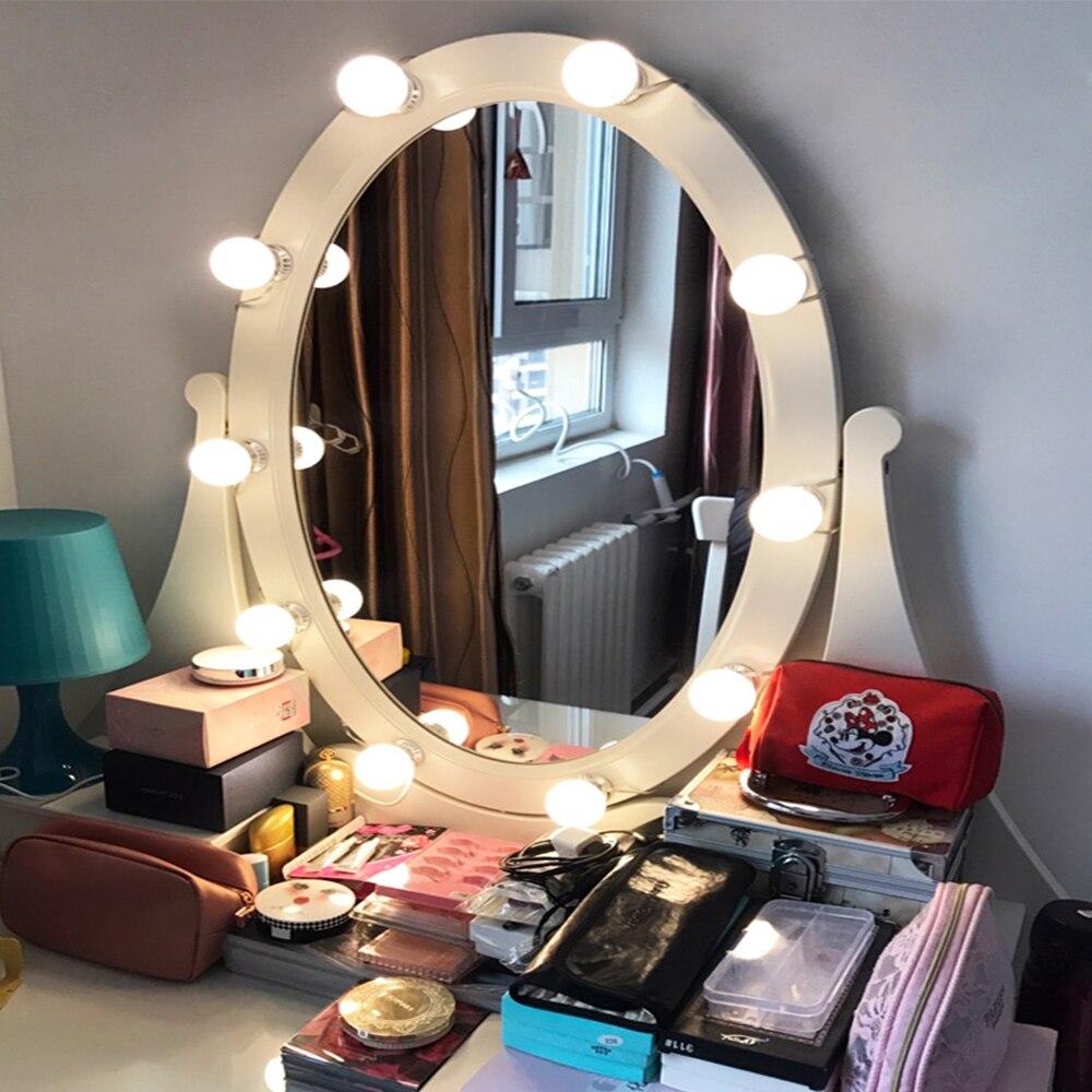Makeup Mirror Vanity LED Light Bulbs Kit 10 Led Bulbs Cosmetic Make Up Mirrors Bulb Adjustable Brightness Mirror Dresser Lamp