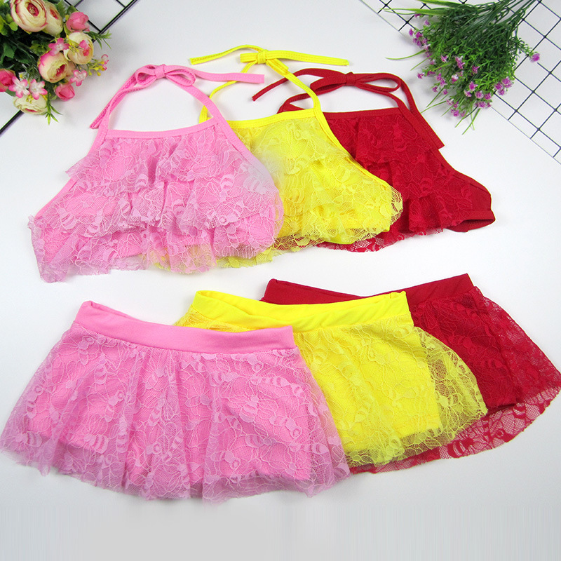 2019 New Style KID'S Swimwear Women's Small CHILDREN'S Lace Strapped Dress-Split Type Bikini Baby Bathing Suit