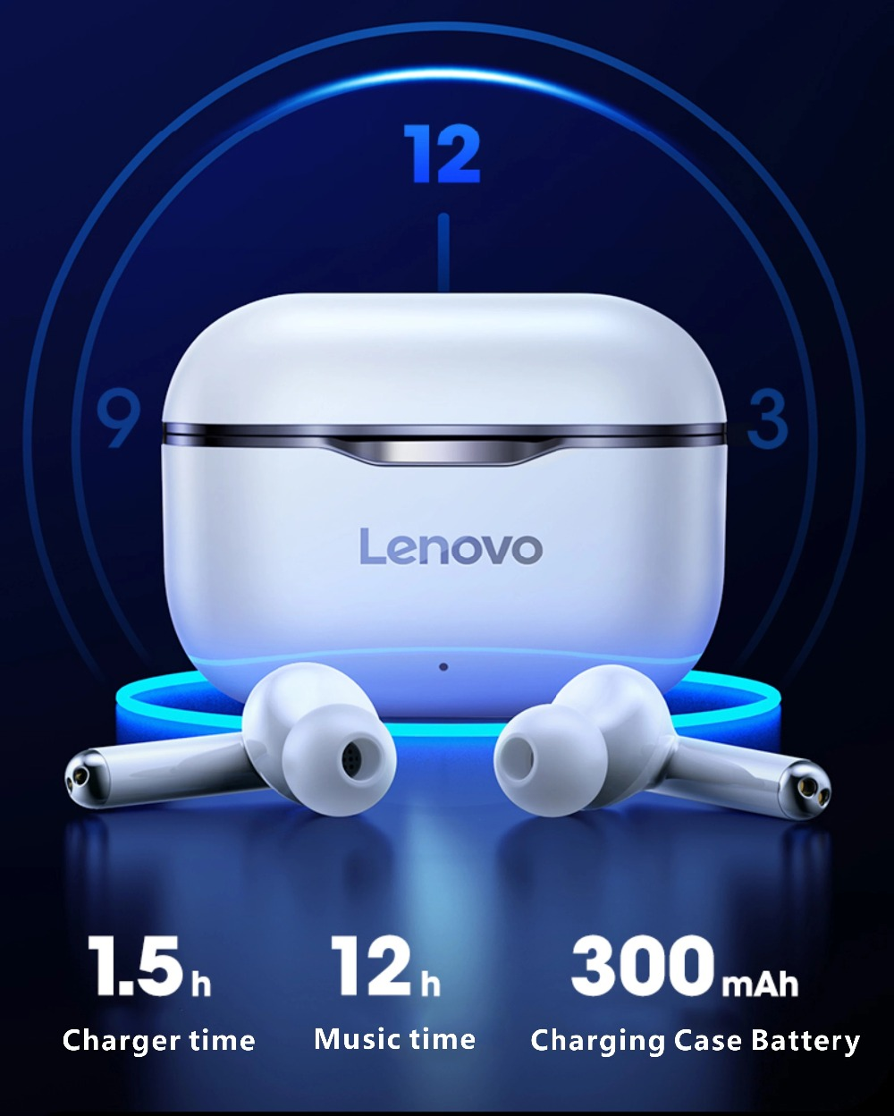 NEW Original Lenovo LP1 TWS Wireless Earphone Bluetooth 5.0 Dual Stereo Noise Reduction Bass Touch Control Long Standby 300mAH (9)