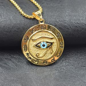 Hip hop Ancient Egypt Round Jewelry Collares Gold Color Stainless Steel Chain Egyptian Eye of Horus Necklaces & Pendants(China)