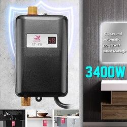 Calentador de agua de 3400 W, Mini grifo eléctrico de cocina instantáneo sin tanque, grifo de calefacción US/EU, hervidor de agua impermeable eficiente