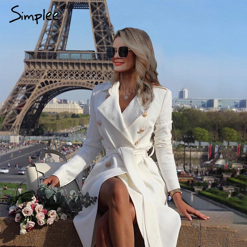 Simplee Vintage double boutonnage blanc trench coat pour femmes ceintures slim long trench femme hiver bureau solide trench robe