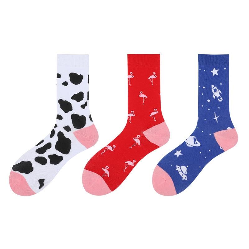 Harajuku Style Socks Men Funny Cows Flamingo Universe Printed Calcetines New 2019 Autumn Winter Hip Hop Happy Socks