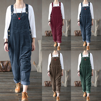 Dungaree Style Corduroy Jumpsuit  1