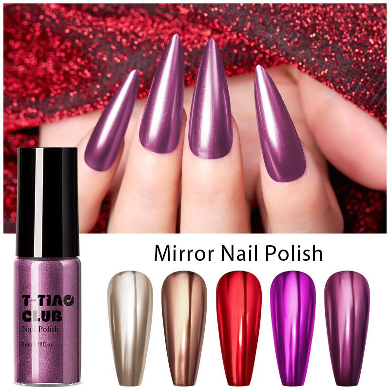 T-TIAO CLUB 8 мл зеркальный лак для ногтей металлик розовое золото серебро металлический цветной лак для ногтей зеркальный эффект металлический ...