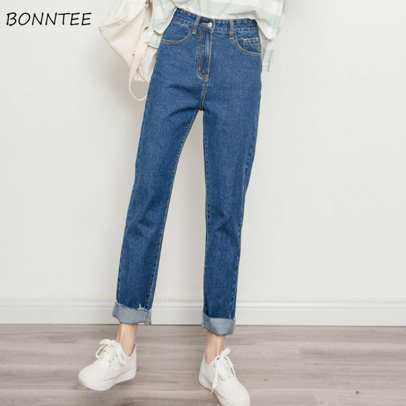 Jeans Women Ankle-Length Trousers Straight High Waist Pockets All-match Street Style Leisure Solid Womens Denim Students Zipper
