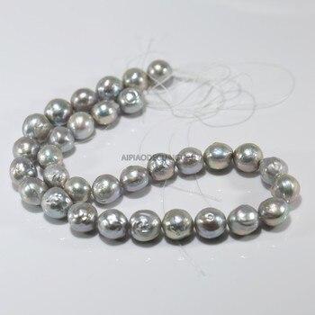 APDGG, Pepita Natural Real de 12-13mm, barroco keshi edison, hebras de perlas grises, cuentas sueltas, joyería DIY para mujer