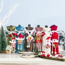 Новогодняя Рождественская бутылка вина, чехол, колокольчик, Санта Клаус, декорированная кукла, снеговик, олень, крышка для бутылки, кухонный декор для рождественского ужина, вечерние