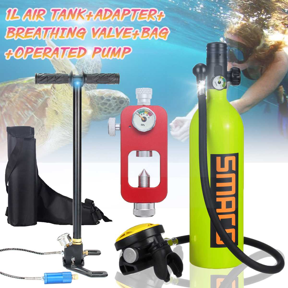 4 In 1 1L Mini Scuba Diving Air Tank Oxygen Cylinder Dive Respirator Air Pump Snorkeling Underwater Breath Diving Equipment Set