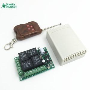 Image 1 - 433 Mhz האלחוטי אוניברסלי מתג DC12V 4CH ממסר מקלט מודול עם 4 ערוץ RF מרחוק 433 Mhz משדר