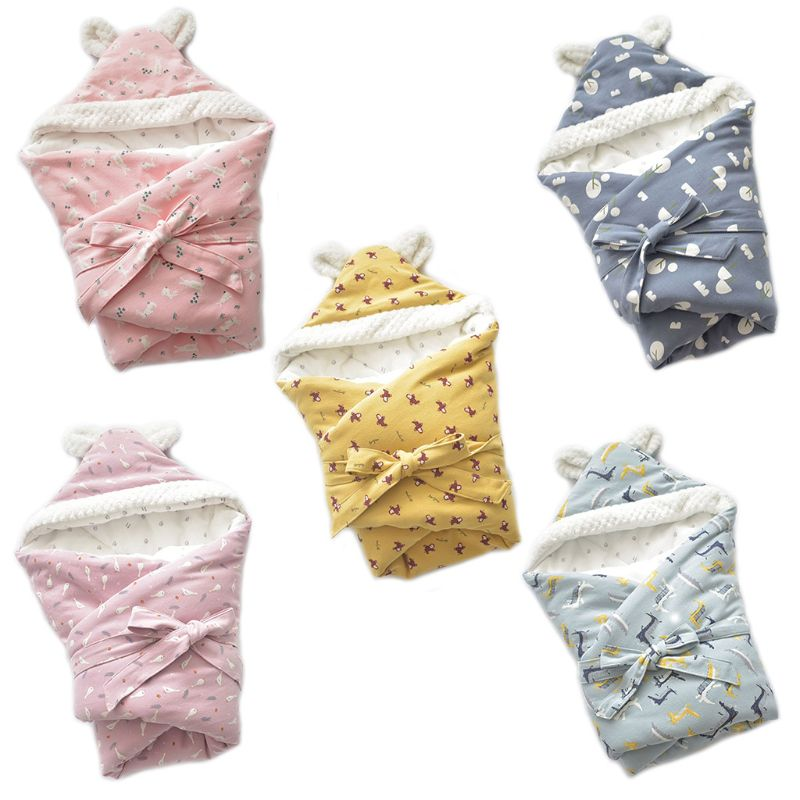 Winter Baby Swaddle Blanket Sleepsacks Infant Cotton Cartoon Wrap Sleeping Bag