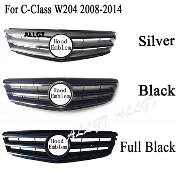 Front Upper Grill Bumper Fit for Mercedes Benz W204 C-Class C200 C300 C350 2008 2009 2010 2011 2012 2013 2014 Black Chrome image