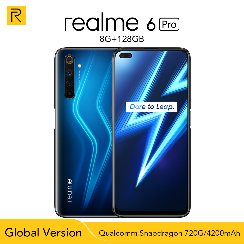 Global Version Realme 6 Pro 6pro 8GB RAM 128GB ROM Snapdragon 720G 30W Flash Charge 4300mAh Battery 64MP Quad Camera 20*Zoom