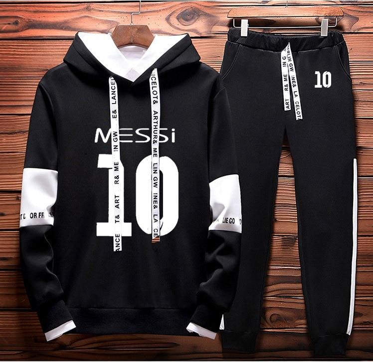 Hoodies Men Messi 10 Printed Sportwear Men Hoodies HarajukuTracksuit+Pants 2Pcs Sporting Suit Fleece Warm Thick Sportwear