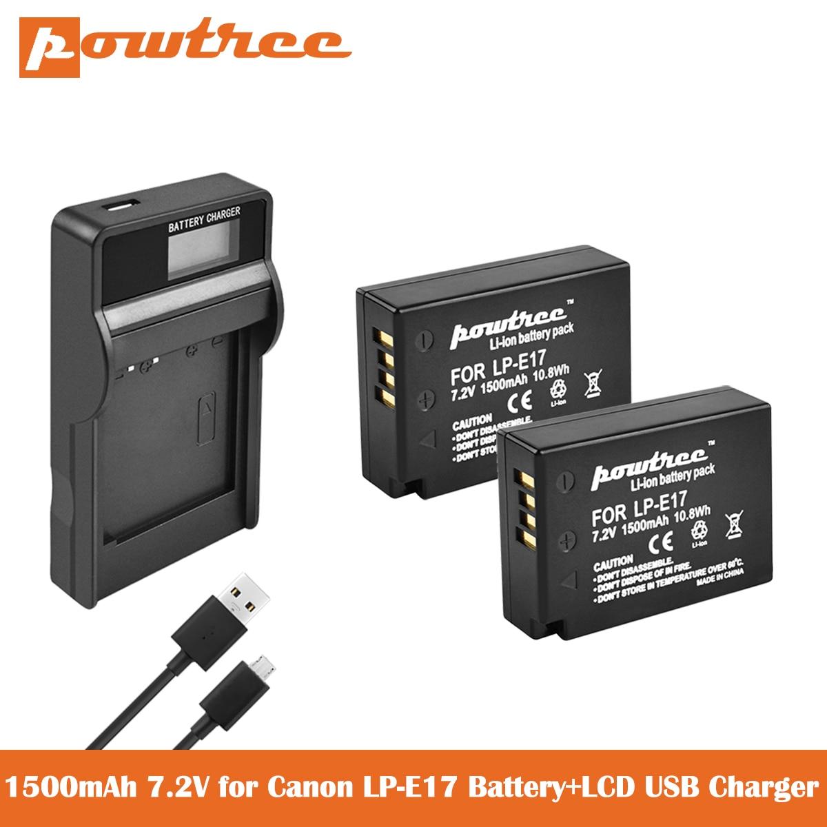 LCD Charger for Canon EOS M3 M5 M6 77D 750D 760D 800D Cameras LP-E17 Battery