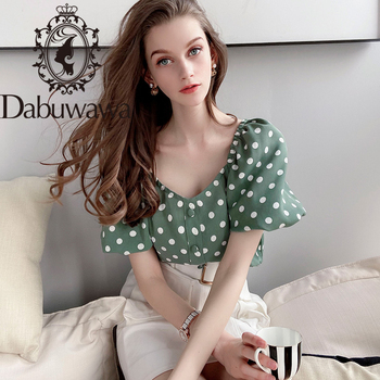 Dabuwawa Vintage Square Neck Polka Dot Boho Blouse Women Tops Lantern Sleeve Button Front Ladies Blouses Shirts DT1BCF007 lantern sleeve striped button front blouse