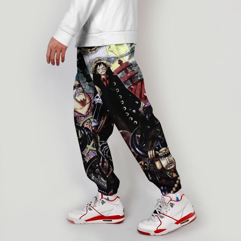 WAWNI 3D Anime Japanese Cargo Pants One Piece Harajuku Streetwear Elastic Waist Harem Hip Hop Joggers Pants