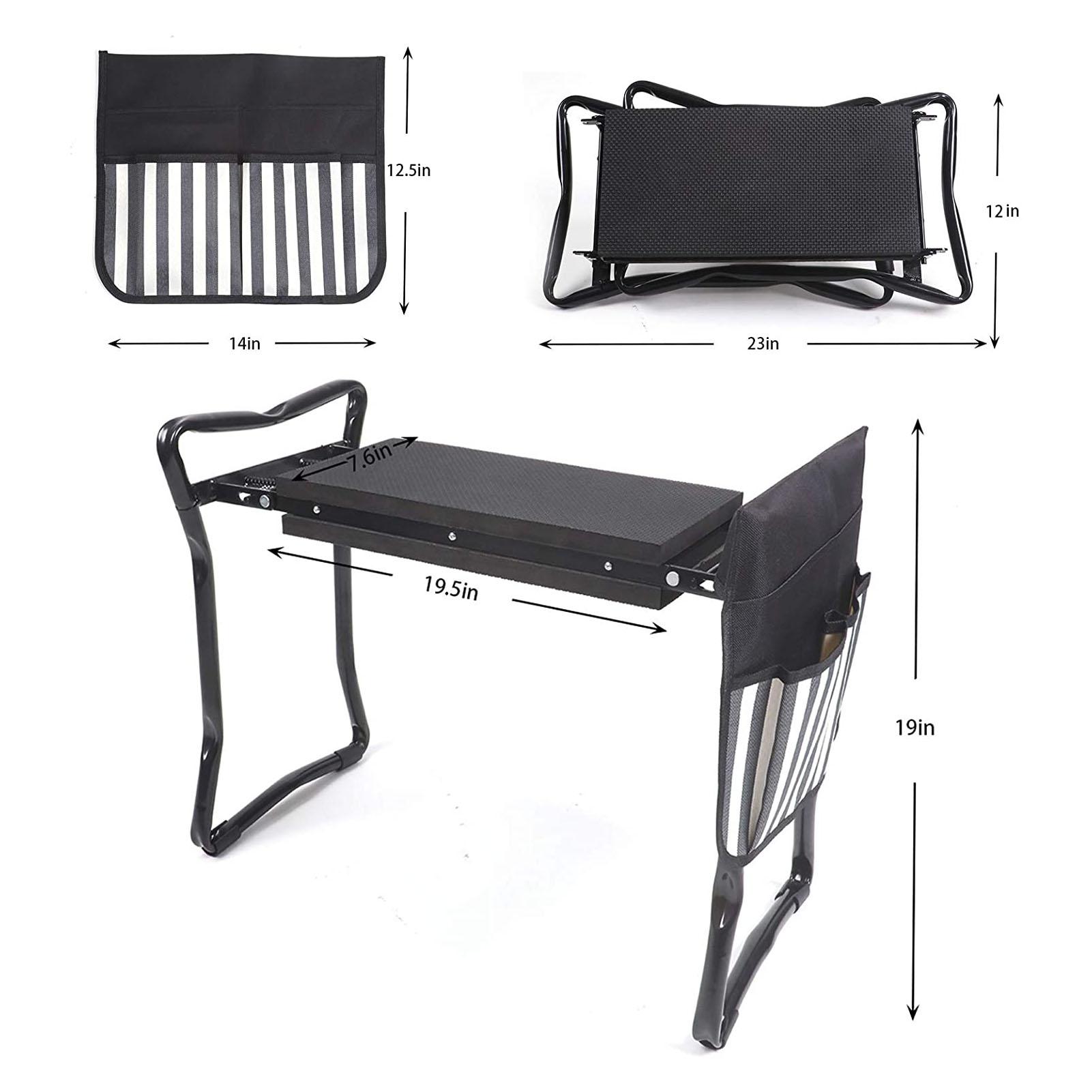 Folding Garden Kneeler Seat Garden Benches Garden Kneepad Folding Seat Stool Picnic Table With 2 Bags