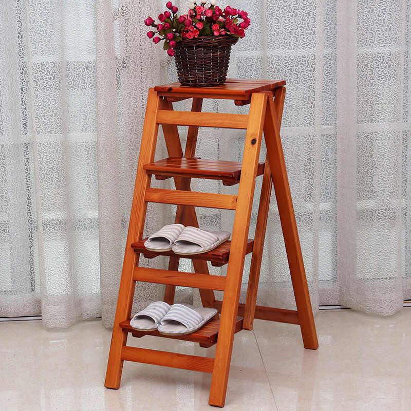 Katı ahşap çok fonksiyonlu merdiven ev katlanır merdiven kalınlaşmış kapalı tırmanma merdiveni ücretsiz kurulum yükseklik sandalye