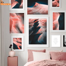 Pink Desert Sea Beach Quotes Nordic Canvas Posters And Prints Wall Art Painting Pictures For Living Room Salon Decor