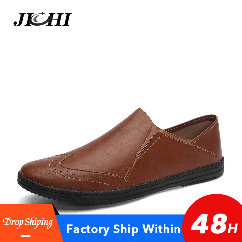 Classic Men Leather Shoes Genuine Leather Men Shoes Leather Breathable Wear-resistant Mens Casual Shoes Work Big Size 38-46