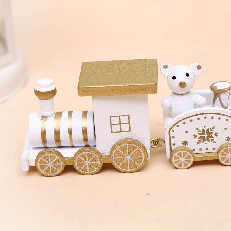Painted Wooden Train Christmas Home Decor Snowman Bear Kid Toys Xmas Ornament