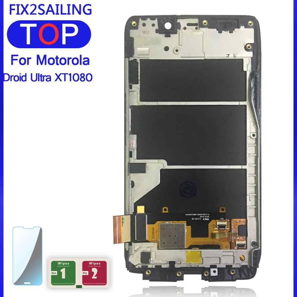 100% Werken Lcd Touch Screen Digitizer Frame Assembly Voor Motorola Moto Droid Ultra XT1080 Maxx XT1080M