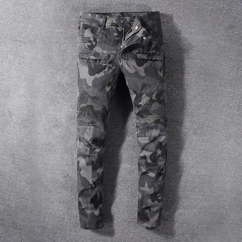 American Streetwear Fashion Men Jeans High Quality Spliced Denim Cargo Pants Hombre Camouflage Military Trousers Biker Jeans Men