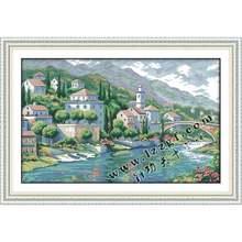 Наборы для вышивки крестиком joy sunday речная городка посчитанный