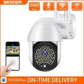Cámara inalámbrica de visión nocturna a todo Color BESDER PTZ con detección de movimiento 1080P, cámara de seguridad de Audio impermeable para exteriores