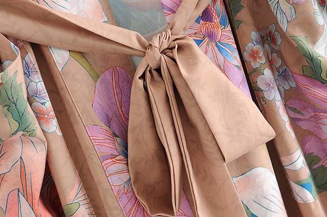 AYUALIN Kimono sleeve robe Kaftan Khaki Floral print Boho cardigan sexy Side Slits Gypsy beach summer long women blouses blusas 4