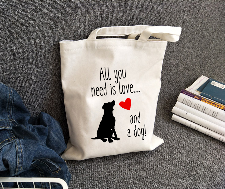 All You Need Is Love And A Dog Tote Bag Women Dog Lover Canvas Shoulder Bags Large Capacity White Totes Dog Mom Gift