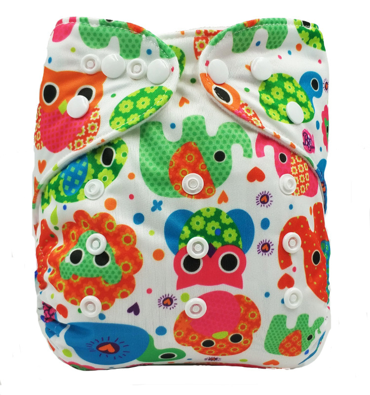 Washable Baby Cloth Diaper Cover Waterproof Cartoon Owl Baby Diapers Reusable Cloth Nappy Suit 0-2years 3-13kg