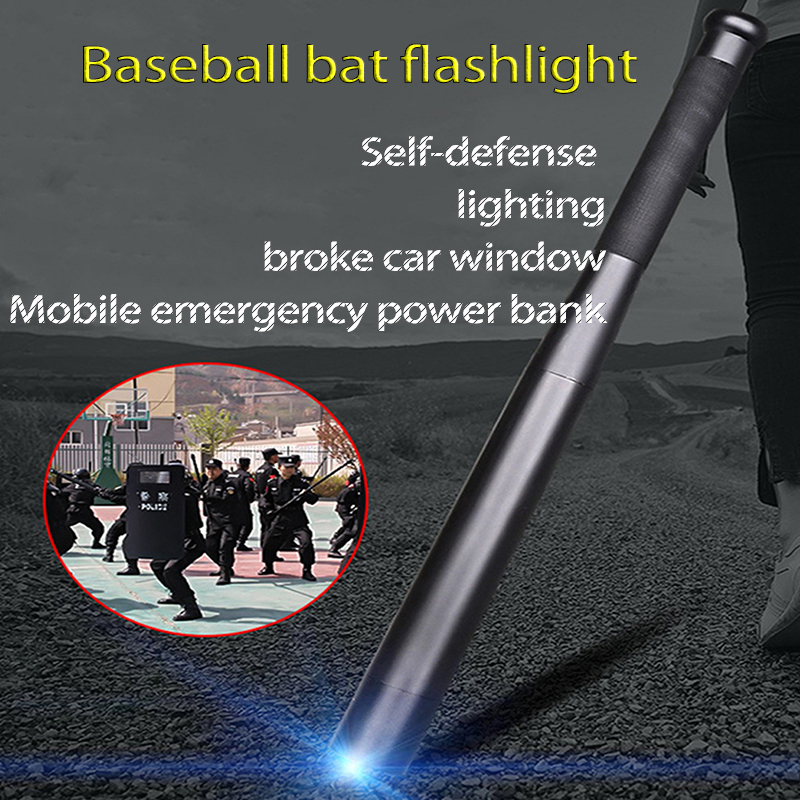 LED Flashlight T6 Rechargeable Security Hard Handheld Torch Self-defense Baseball Bat Torch Light As Emergency Phone Power Bank
