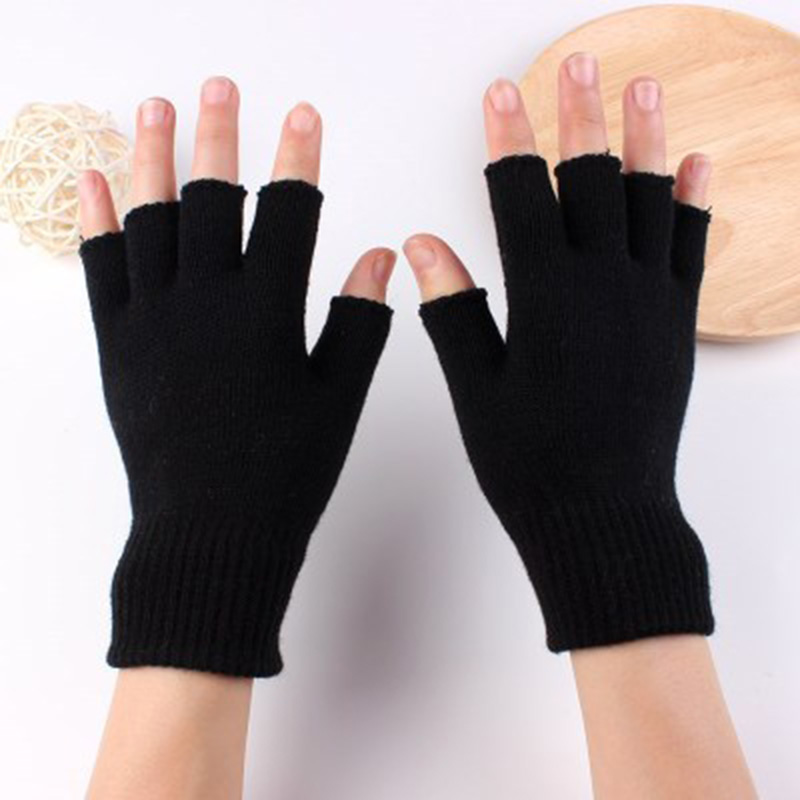 Fashion Black Half Finger Touch Screen Elastic Gloves Winter Men Women Riding Bicycle Writing Warm Half Finger Gloves D84