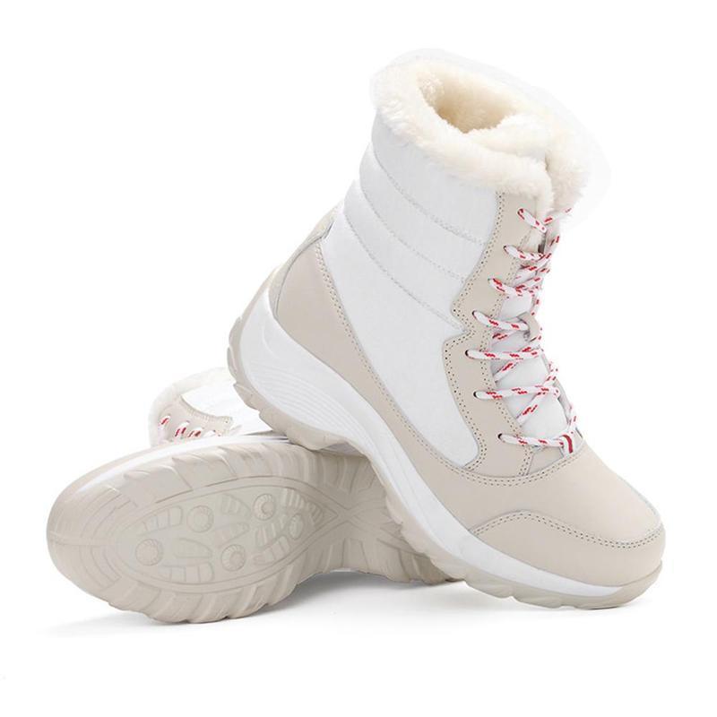 Зимние уличные теплые зимние сапоги Водонепроницаемый Нескользящие толстые сапоги на толстой подошве, теплая обувь на толстом высокого класса с бархатом для снежной погоды; - Цвет: C