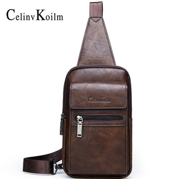 Celinv Koilm High Quality Split Leather Shoulder Crossbody Bag Men Chest Bags For Young Man Famous Brand Sling Bags jeep buluo men crossbody bags fashion high quality leather chest bag for young man casual male sling bags travel shoulder bag