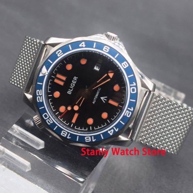 Luxe Bliger 41mm cadran noir bleu lunette rotative verre saphir acier inoxydable bracelet à mailles mouvement automatique montre-bracelet pour hommes