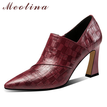 Meotina High Heels Women Pumps Natural Genuine Leather Strange Style High Heel Shoes Cow Leather Zipper Shoes Female Size 34-39