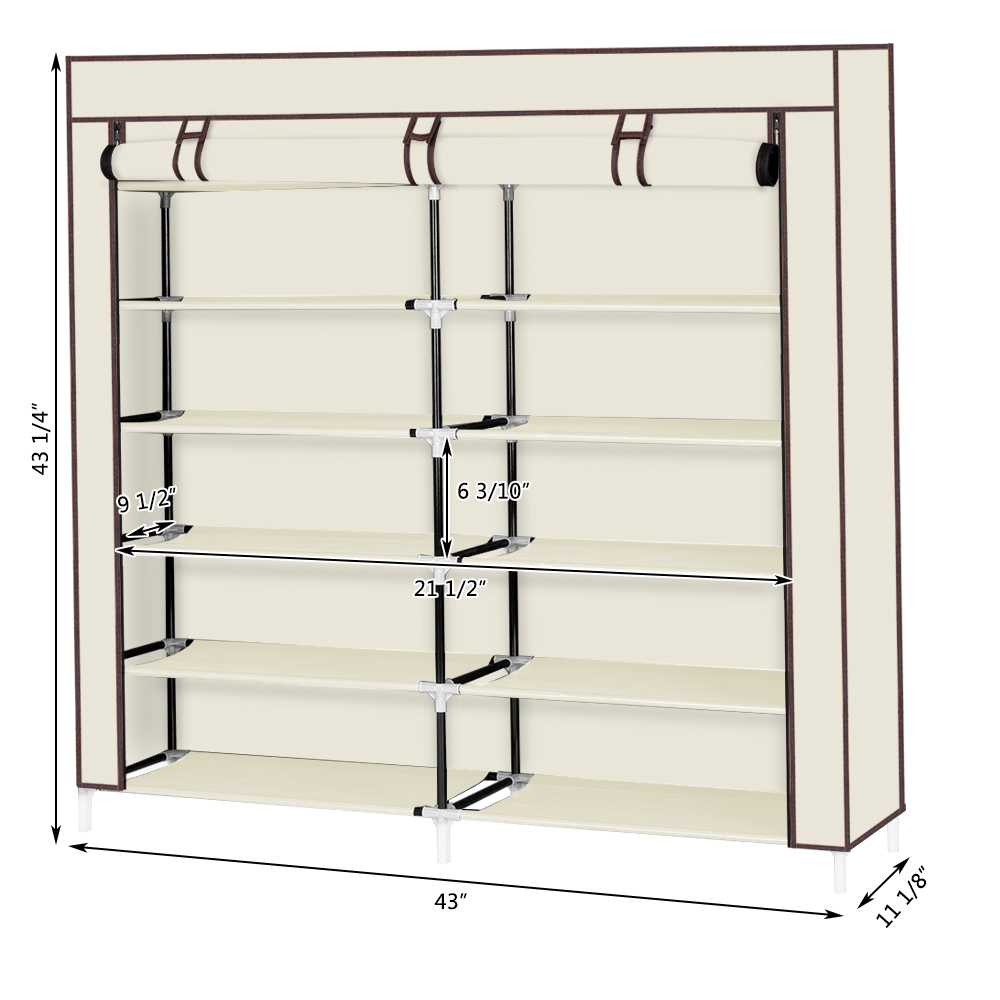 6-Row 2-Line 12 Lattices Non-woven Fabric Shoe Rack Alloy & Plastic Shoe Cabinets Living Room Bedroom Shoe Storage Shoe Shelf