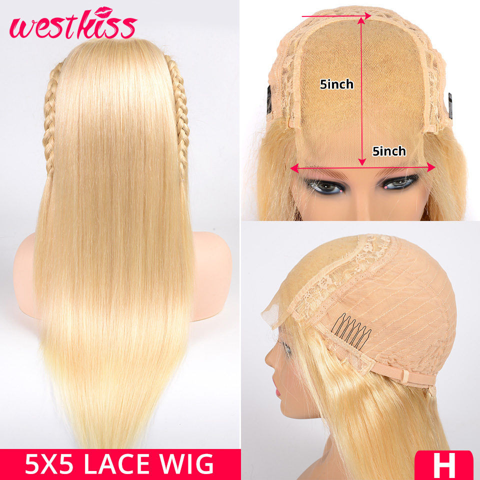 Closure Wig Blonde Human-Hair Lace Transparent West-Kiss High-Ratio 6x6 Straight -613 title=