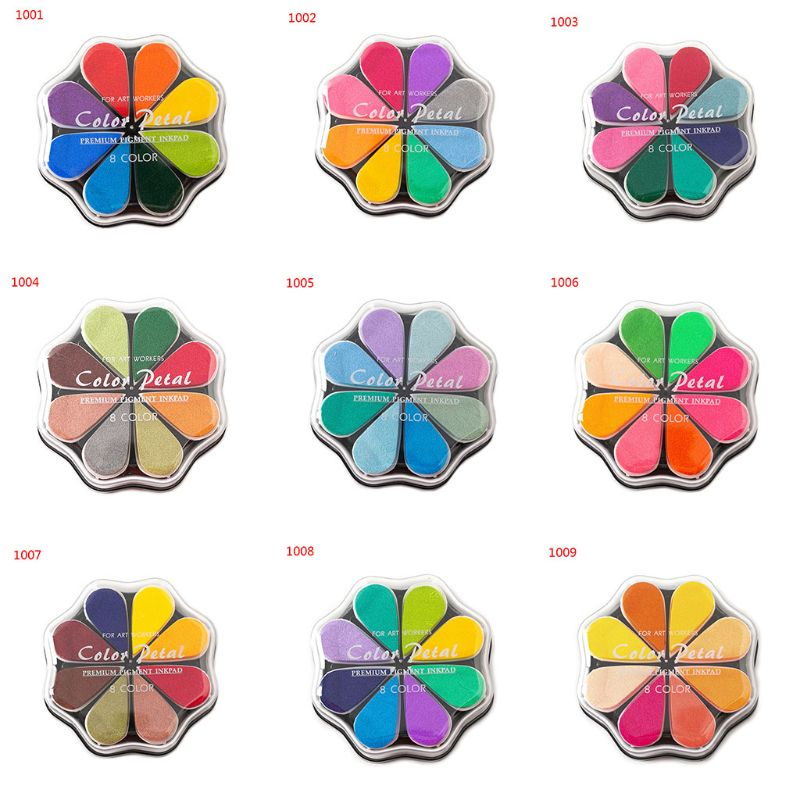 Cute 8 Colors Water Drop Petal Ink Pad Stamp DIY Finger Painting Craft Kids Student Stationery