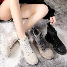Зимние женские Ботинки martin в стиле ретро; дышащая спортивная обувь с высоким берцем; женские ботильоны, визуально увеличивающие рост; ботинки на платформе в стиле милитари