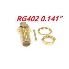 Conector fêmea do rf da solda de jack de 100 pces sma para o cabo semi-rígido rg402 0.141