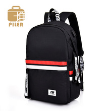 Piler Canvas Women Backpack School Bags for Teenagers Boy Large Capacity USB Charging Laptop Men Casual Rucksack
