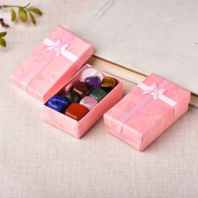 10PCS/Set Natural Stone Crystal Gemstone Chakras Healing Stone Quartz Mineral Ornaments Home Decoration Gifts Box for Children