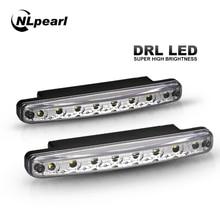 Nlpearl 2x комплект для освещения автомобиля Светодиодный дневной ходовой свет дневного света Водонепроницаемый 12 В 8 СВЕТОДИОДНЫЙ DRL автомобиль вождения полоскания лампа белый DC 12 В
