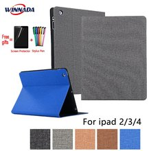 For ipad 4 case linen grain PU leather Stand Protective Case TPU Cover for ipad 2 3 4  A1458 A1459 A1460 A1403 A1416 A1430 A1395 alangduo 5pcs for ipad 3 a1416 a1430 a1403 ipad 4 a1458 a1459 a1460 ipad3 ipad4 apple lcd display screen replacement