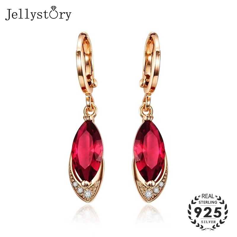 Jellystory Fashion Silver 925 Earrings Jewelry Geometric Shaped Ruby Zircon Gemstone Drop Earrings For Women Wedding Party Gifts
